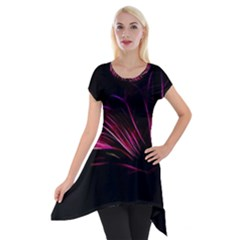 Purple Flower Pattern Design Abstract Background Short Sleeve Side Drop Tunic
