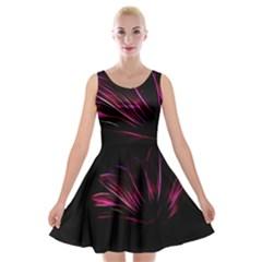 Purple Flower Pattern Design Abstract Background Velvet Skater Dress