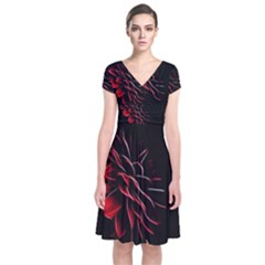 Pattern Design Abstract Background Short Sleeve Front Wrap Dress