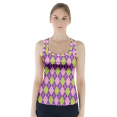 Purple Green Argyle Background Racer Back Sports Top