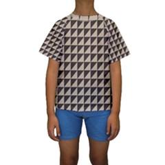 Brown Triangles Background Pattern  Kids  Short Sleeve Swimwear