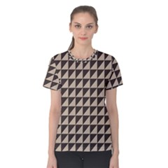 Brown Triangles Background Pattern  Women s Cotton Tee