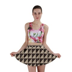 Brown Triangles Background Pattern  Mini Skirt