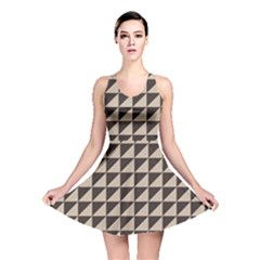 Brown Triangles Background Pattern  Reversible Skater Dress