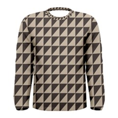 Brown Triangles Background Pattern  Men s Long Sleeve Tee