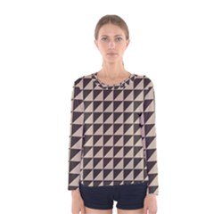 Brown Triangles Background Pattern  Women s Long Sleeve Tee