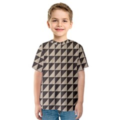 Brown Triangles Background Pattern  Kids  Sport Mesh Tee