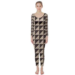 Brown Triangles Background Pattern  Long Sleeve Catsuit