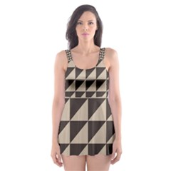 Brown Triangles Background Pattern  Skater Dress Swimsuit
