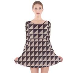 Brown Triangles Background Pattern  Long Sleeve Velvet Skater Dress
