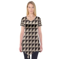 Brown Triangles Background Pattern  Short Sleeve Tunic