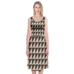 Brown Triangles Background Pattern  Midi Sleeveless Dress