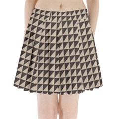 Brown Triangles Background Pattern  Pleated Mini Skirt