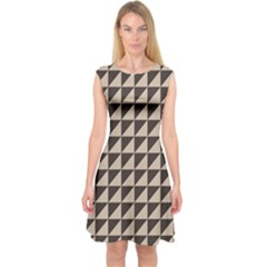 Brown Triangles Background Pattern  Capsleeve Midi Dress