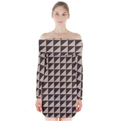 Brown Triangles Background Pattern  Long Sleeve Off Shoulder Dress