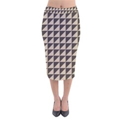 Brown Triangles Background Pattern  Velvet Midi Pencil Skirt
