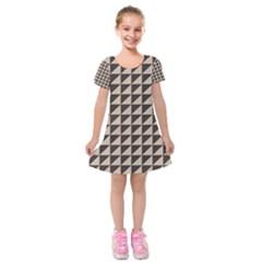 Brown Triangles Background Pattern  Kids  Short Sleeve Velvet Dress