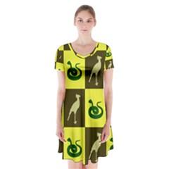 Snake Bird Short Sleeve V Neck Flare Dress