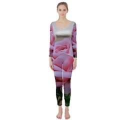 Rose Pink Flowers Pink Saturday Long Sleeve Catsuit