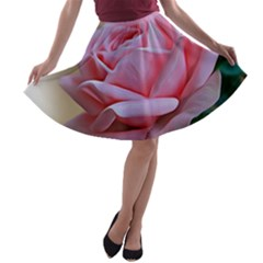 Rose Pink Flowers Pink Saturday A Line Skater Skirt