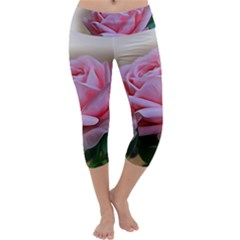 Rose Pink Flowers Pink Saturday Capri Yoga Leggings
