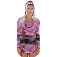Rose Pink Flowers Pink Saturday Women s Long Sleeve Hooded T Shirt