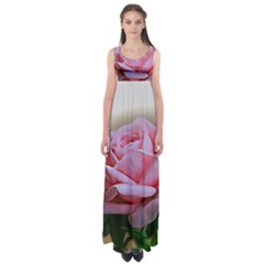 Rose Pink Flowers Pink Saturday Empire Waist Maxi Dress