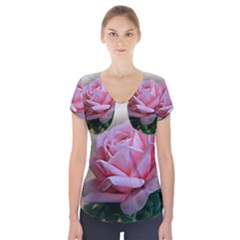 Rose Pink Flowers Pink Saturday Short Sleeve Front Detail Top