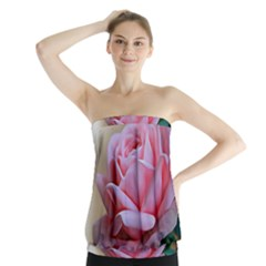 Rose Pink Flowers Pink Saturday Strapless Top