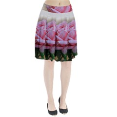 Rose Pink Flowers Pink Saturday Pleated Skirt