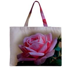 Rose Pink Flowers Pink Saturday Medium Zipper Tote Bag