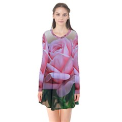 Rose Pink Flowers Pink Saturday Flare Dress