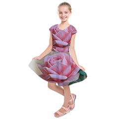Rose Pink Flowers Pink Saturday Kids  Short Sleeve Dress