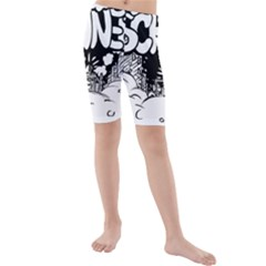 Snow Removal Winter Word Kids  Mid Length Swim Shorts