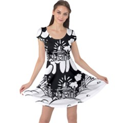 Snow Removal Winter Word Cap Sleeve Dresses
