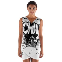 Snow Removal Winter Word Wrap Front Bodycon Dress