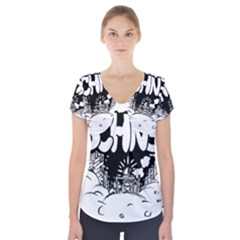 Snow Removal Winter Word Short Sleeve Front Detail Top