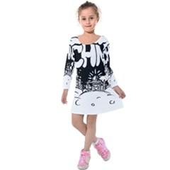 Snow Removal Winter Word Kids  Long Sleeve Velvet Dress