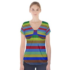 Pattern Background Short Sleeve Front Detail Top