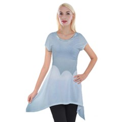 Soft Pure Backgrounds Short Sleeve Side Drop Tunic