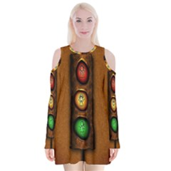 Traffic Light Green Red Yellow Velvet Long Sleeve Shoulder Cutout Dress