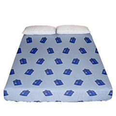 Tumblr Cute Tardis Fitted Sheet (queen Size)