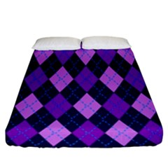 Tumblr Static Argyle Pattern Blue Purple Fitted Sheet (king Size)