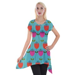 Tulips Floral Flower Short Sleeve Side Drop Tunic