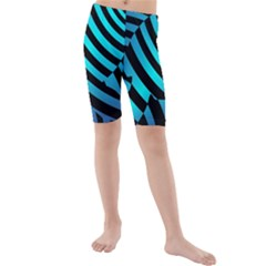 Turtle Swimming Black Blue Sea Kids  Mid Length Swim Shorts