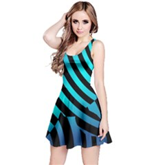 Turtle Swimming Black Blue Sea Reversible Sleeveless Dress