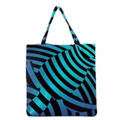 Turtle Swimming Black Blue Sea Grocery Tote Bag