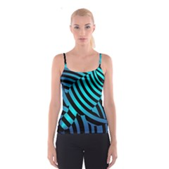 Turtle Swimming Black Blue Sea Spaghetti Strap Top