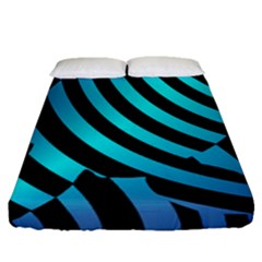 Turtle Swimming Black Blue Sea Fitted Sheet (Queen Size)