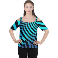 Turtle Swimming Black Blue Sea Women s Cutout Shoulder Tee